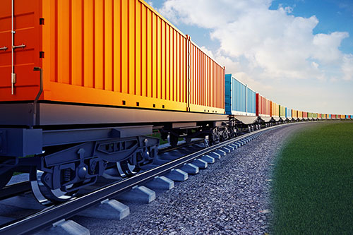 ASAP Transport Solutions intermodal delivery taking place on rail cars.